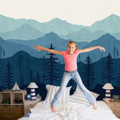 Blue Ombré Mountain Wallpaper | Forest Tree and Mountain Wallpaper | Repositionable and Removable Wallpaper W1080