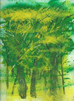 The Forest and the Trees, acrylic monoprint enhanced with ink and scratching out