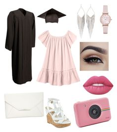 """""""graduation day look"""" by talfashion ❤ liked on Polyvore featuring Rebecca Taylor, Style & Co., Polaroid, Jules Smith, Emporio Armani, Lime Crime and graduationdaydress"""