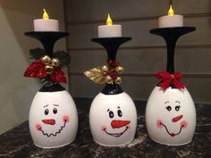 Diy wine glass snowman tea light candle holder