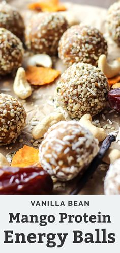 These Mango Vanilla Bean Protein Energy Balls are paleo, Whole30 and vegan-friendly. Made with dates, cashews, and collagen, they make the perfect healthy, no bake workout snack! They're packed with protein and only require 5 ingredients! Whole 30 Recipes, Whole Food Recipes, Snack Recipes, Dinner Recipes, Paleo Recipes, Protein In Beans, Protein Snacks, Healthy Snacks, Dairy Free Recipes Easy