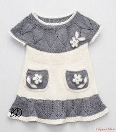 Knit summer dress models and their expression Crochet Girls, Crochet Baby Clothes, Knit Crochet, Kids Knitting Patterns, Baby Patterns, Baby Sweaters, Clothing Patterns, Baby Dress, Knit Dress