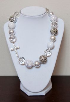 White Clear and Silver Chunky Bubblegum by PinkLiliesBoutique, $15.95