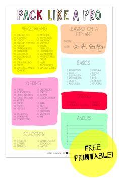 Pack like a pro! (printable) | Studio Stationery Blog