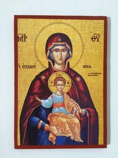 Our Lady Theotokos - Mother Of God - handmade orthodox byzantine icon Byzantine Icons, Orthodox Icons, Second Hand, Virgin Mary, Our Lady, Holi, Greek, Christian, Handmade