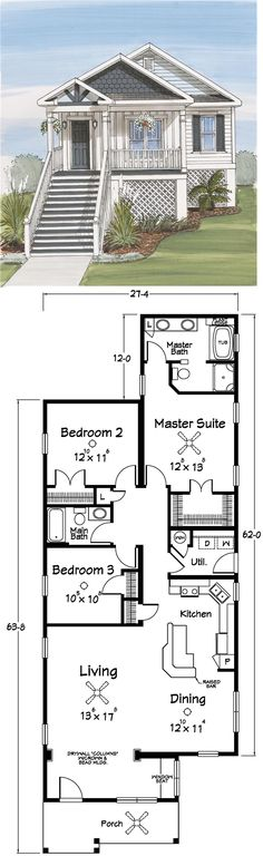 Best Beach House Floor Plans Ideas Small Coastal Cottage Modular Narrow Lot Pilings Seaside Cottages On Cottage Plan, Cottage Homes, Cottage Interiors, Cabins And Cottages, Beach Cottages, Small Cottages, Coastal Cottage, Coastal Decor, Cottage Bath