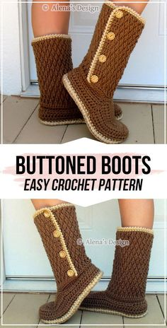 crochet Buttoned Women& Boots pattern - easy crochet boots pattern for beginners Crochet Booties Pattern, Crochet Slipper Boots, Crochet Sandals, Crochet Slippers, Easy Crochet Patterns, Kids Crochet, Free Crochet, Crochet Baby, Knitting Patterns