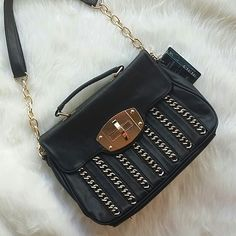 "Chain Detailed Black Handbag Trendy black handbag with gold tone hardware ~ price firm unless bundled ~ no trades ~ 14"" X 10"" X 5"" K131450 Bags Shoulder Bags"