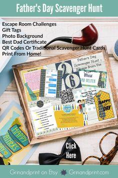 This is our Fathers Day Scavenger Hunt. If you are looking for great Fathers Day Gifts then this is an option. Having a Fathers Day Party? Looking for Fathers Day Ideas? This game includes Fathers Day Tags, Fathers Day Candy Bar Wrap, and Escape Room type Challenges for Dad to Decipher before he can receive his gifts. Our Fathers Day Games make the perfect Fathers Day Party Activity. Check out all of our Fathers Day items in our shop. #fathersday #fathersdayideas #fathersdaygifts #scavengerhunt