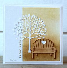 Alota Rubberstamps, Mini Wooden Bench, & Memory Box tree die (Arbacola).