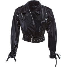 Anouki Cropped Patent Leather Jacket ($905) ❤ liked on Polyvore featuring outerwear, jackets, black, belted jacket, collar jacket, long sleeve crop jacket, patent leather jacket and lapel jacket