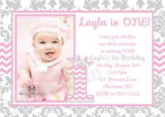 First Birthday Princess Invitation Unique Items Similar to Pink & Grey Damask an. First Birthday Princess Invitation Unique Items Similar to Pink & Grey Damask and Chevron Birthday Free Online Birthday Invitations, Ladybug Birthday Invitations, Princess Invitations, Pink Invitations, Invitation Ideas, Invitation Templates, Pink Princess Party, Princess First Birthday, 1st Boy Birthday