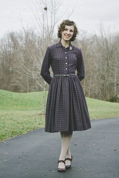 Add a brooch to the collar of your dress. - Plaid Shirtwaist Dress 2