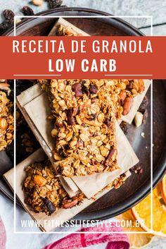 Deliciosa receita de GRANOLA LOW CARB - Fácil e rápida de fazer. Coma no café da manhã, no lanche da tarde, com frutas, leite, iogurte, deixe sua alimentação mais equilibrada e nutritiva.