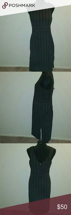 NWT Carmen Marc Valvo Dress Wine/black striped below the knee dress. Double sided slits. Perfect condition. Carmen Marc Valvo Dresses Midi