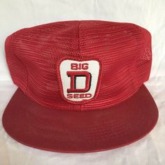 ed936e45 Vintage K Brand Products Big D Seed Snapback Trucker Hat USA All Mesh Cap  Patch #