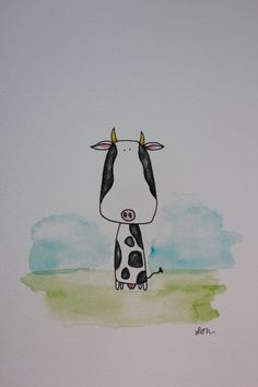 Cow Illustration. ££10.00 GBP, via Etsy.