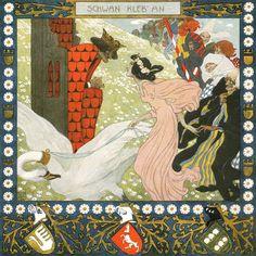 Schwan, kleb' an (Swan hold on) #7 Grimms Märchenkalender, illustrated by Heinrich Lefler and Joseph Urban, 1905, Berger & Wirth, Leipzig