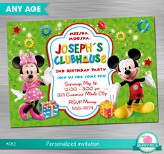 MICKEY CLUBHOUSE Invitation Mickey Invitation Mickey