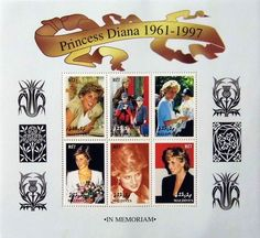 """Princess Diana """"Mother and Sons"""" Plate Block of 6 Postage Stamps ..."""