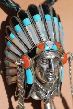 Vintage Southwestern Tribal Indian Chief Head Bolo Tie Sterling Silver Turquoise | eBay