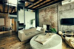 The mix of different elements such as brick, concrete and wood.