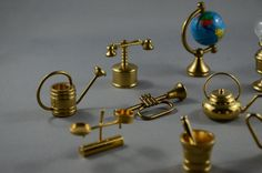 Vintage Marvellous Lot of Brass Miniatures of Household Items for Display in a Doll's House Collection by VENIVIDIVOLO on Etsy