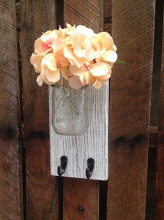 Mason Jar Wall Decor with Hook,YOU PICK COLOR,Wall Hook,Wall Hanger,Rustic,Shabby Chic Rustic Wall Decor,Wall Hook,Mason Jar Wall Sconce by LacyBellesBoutique on Etsy https://www.etsy.com/listing/198042526/mason-jar-wall-decor-with-hookyou-pick
