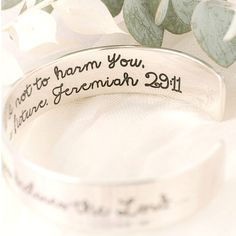 """Jeremiah 29:11 Sterling Silver Engraved Cuff Bracelet 