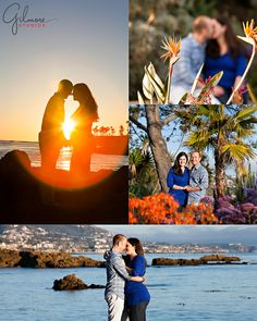 gilmore studios, laguna beach, tivoli, engagement photo, sunset, flower, couple, water, Hugging, Kissing, Engagement Photography