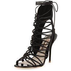 Sophia Webster Lacey Lace-Up Gladiator Sandal (2.260 BRL) ❤ liked on Polyvore featuring shoes, sandals, heels, black, laced up gladiator sandals, gladiator heel sandals, lace-up heel sandals, black heeled sandals and lace up gladiator sandals