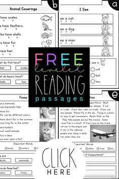 FREE LEVELED READING PASSAGES Kindergarten Second Grade Reading Levels A F Differentiated 6 Kindergarten Level Reading Passages kindergarten level reading passages - There are many reasoned explanat. Phonics Reading, Kindergarten Reading, Teaching Reading, Differentiated Kindergarten, Leveled Reading Passages, Reading Comprehension Passages, Comprehension Strategies, Reading Strategies, Third Grade Reading