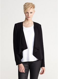 Eileen Fisher drape front jacket w leather trim in siik georgette crepe