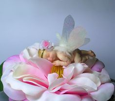 "Peony Baby Fairy - OOAK Sculpture in 1/12 scale, 2"" high, acetate wings, polymer by Daniel Messena"