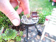 Tiny Miniature Garden BBQ  inside a miniature garden!
