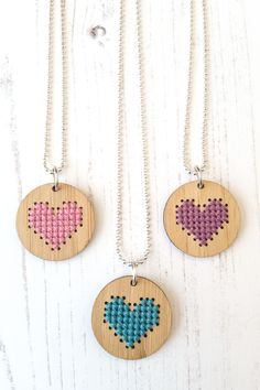 Cross stitched hearts for your Valentine! DIY kits by Red Gate Stitchery