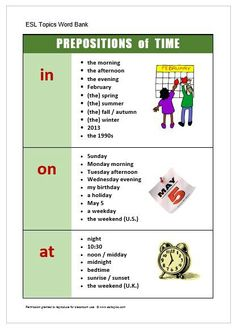 Uses of In / On / At for time expressions.