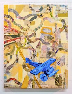 Aga Ousseinov,  Aerial View of my Hometown, 2012 Collage and mixed media on panel, 24x18 inches Exhibition: Fly to Baku at MAXXI, Rome. Curated by Herve Mikaeloff