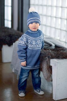 Children's Norwegian sweater and hat - free knitting instructions - Knitting Baby Sweater Knitting Pattern, Baby Knitting Patterns, Free Knitting, Knitting Sweaters, Sweater Hat, Knitting Supplies, Dress Gloves, Fair Isle Knitting, Free Baby Stuff