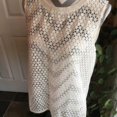 Loft mesh tank Just adorable and never worn!  Off white in color; soft cotton back w/mesh front LOFT Tops
