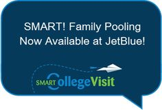 JetBlue now let's you pool frequent flier miles as a family! Perfect for campus visit travel!