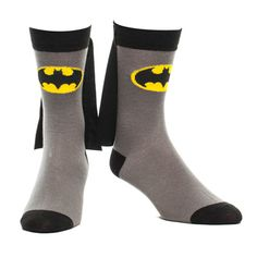 Batman superheroes socks. Have you ever seen socks with capes?  Grijze Batman sokken met cape - Superhelden merchandise strips Hilarious!!