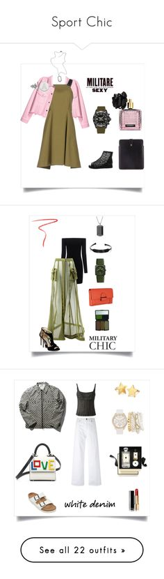 """""""Sport Chic"""" by marinaova ❤ liked on Polyvore featuring H&M, Sportmax, LogoArt, Diesel, Breitling, Alexander McQueen, Victoria's Secret, casual, chic and military"""