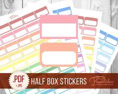 Printable Planner Stickers Erin Condren planner Stickers Half Box Planner Stickers HALF BOX stickers Half Box planner sticker Digital by FleurStickers on Etsy