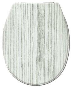 Der attraktiver WC-Deckel mit weißen Holzdekor ist aus hochwertigem Duroplast und verfügt über eine Absenkautomatik. Gesehen für € 39,99 bei kloundco.de.