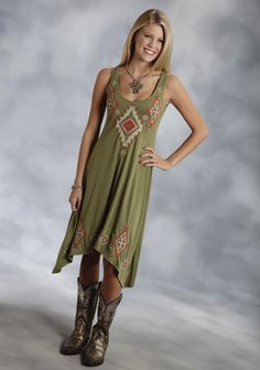 Roper® Olive Embroidered Sleeveless Hi Lo Western Tank Dress