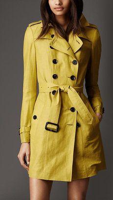 Mid-Length Linen Silk Trench Coat Burberry
