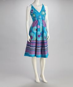 Take a look at this Blue & Purple Floral Surplice Dress by India Boutique on #zulily today!