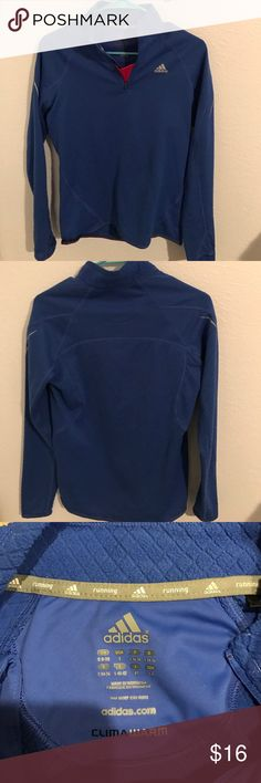 Adidas running pullover Blue with slight purple hues. Fuchsia near the zipper. Quarter length zipper. Like new condition adidas Tops Sweatshirts & Hoodies