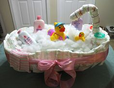Baby Bath Tub Diaper Cake Tutorial - 10 Creative Diaper Cakes for a Baby Shower.